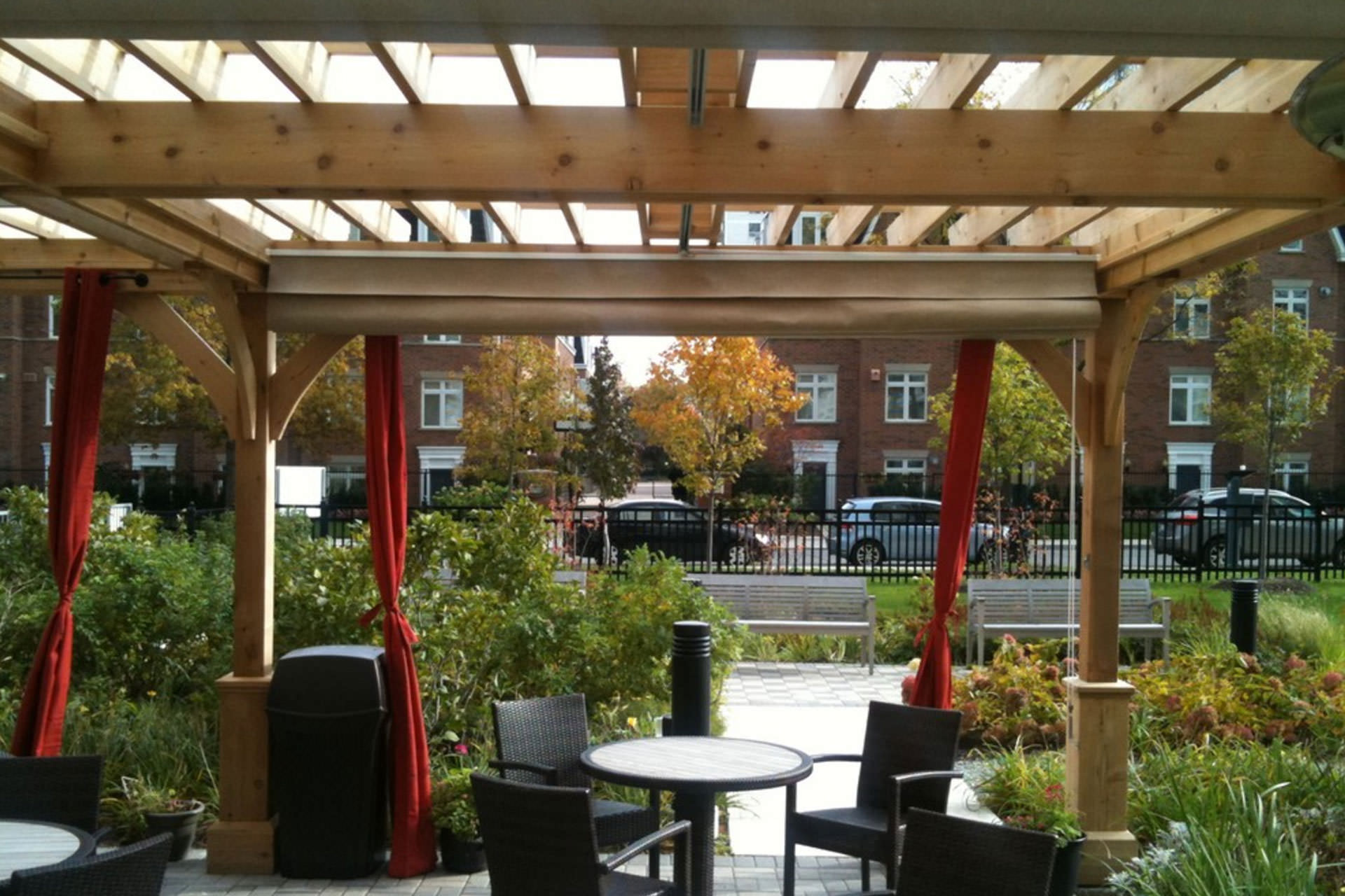 Patio Cover Canopies at Dunfield Retirement Residence ... on Shade For Backyard Patio id=53433