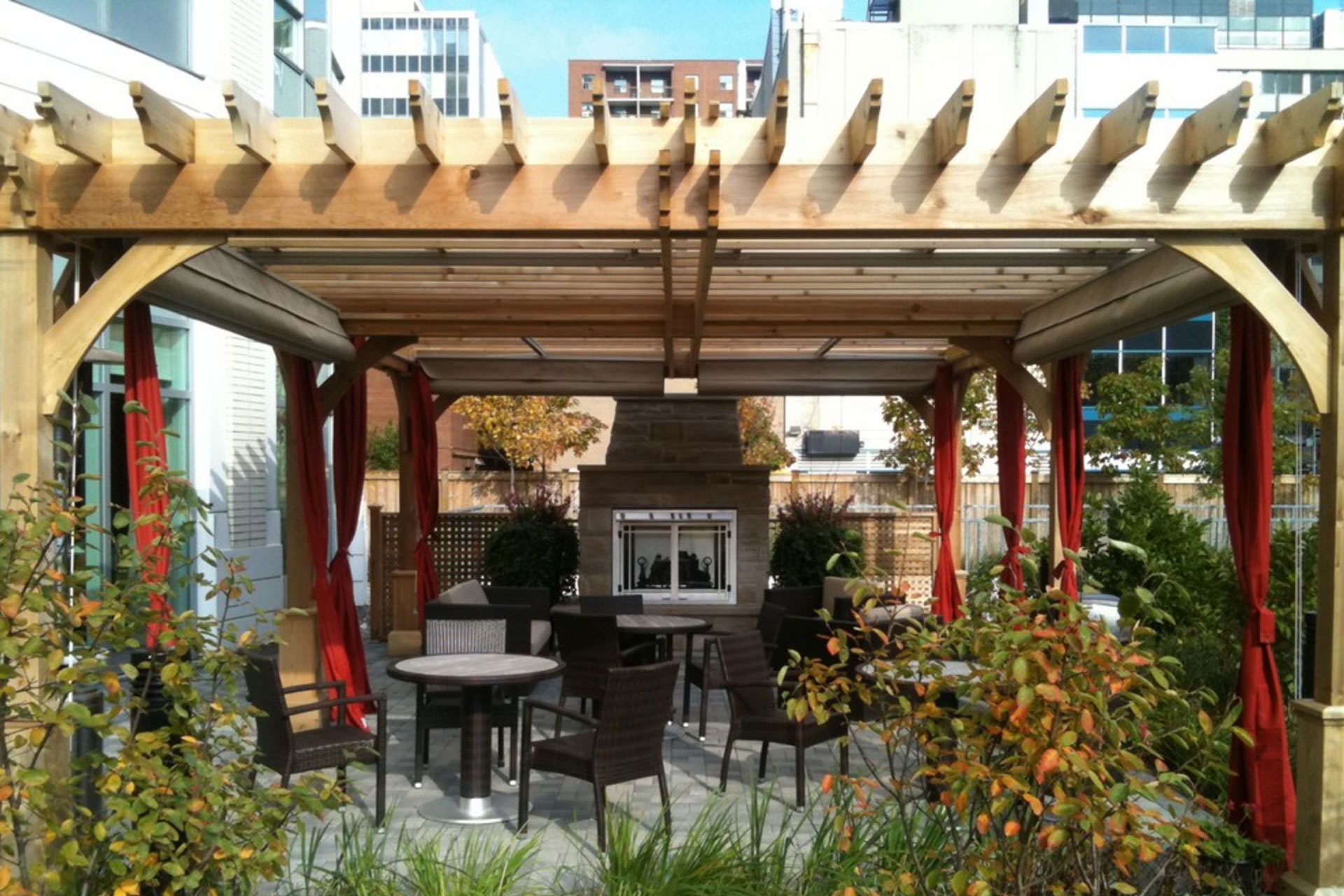 Patio Cover Canopies at Dunfield Retirement Residence ... on Shade For Backyard Patio id=24290
