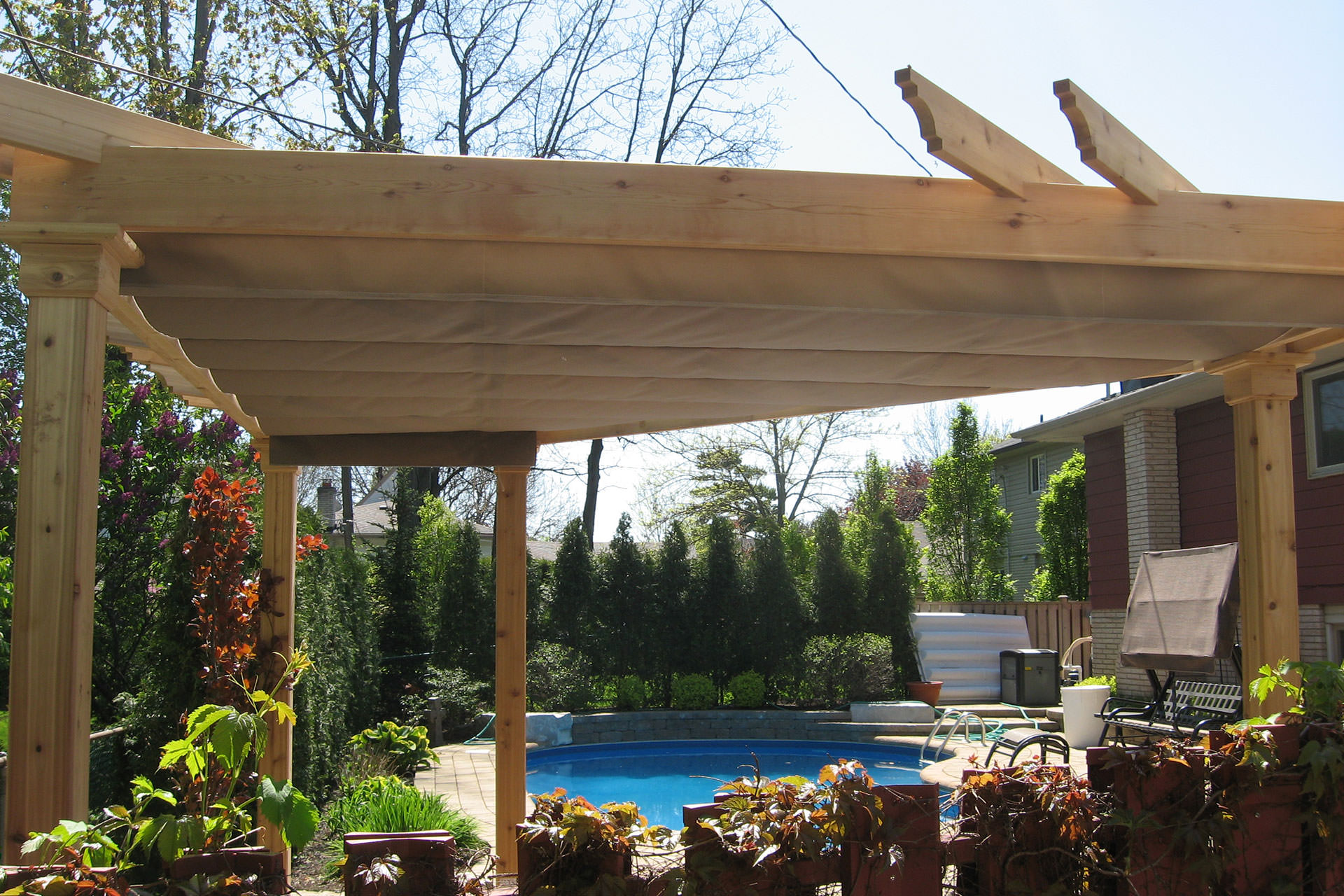 cover your irregular shape pergola with a custom canopy. Black Bedroom Furniture Sets. Home Design Ideas