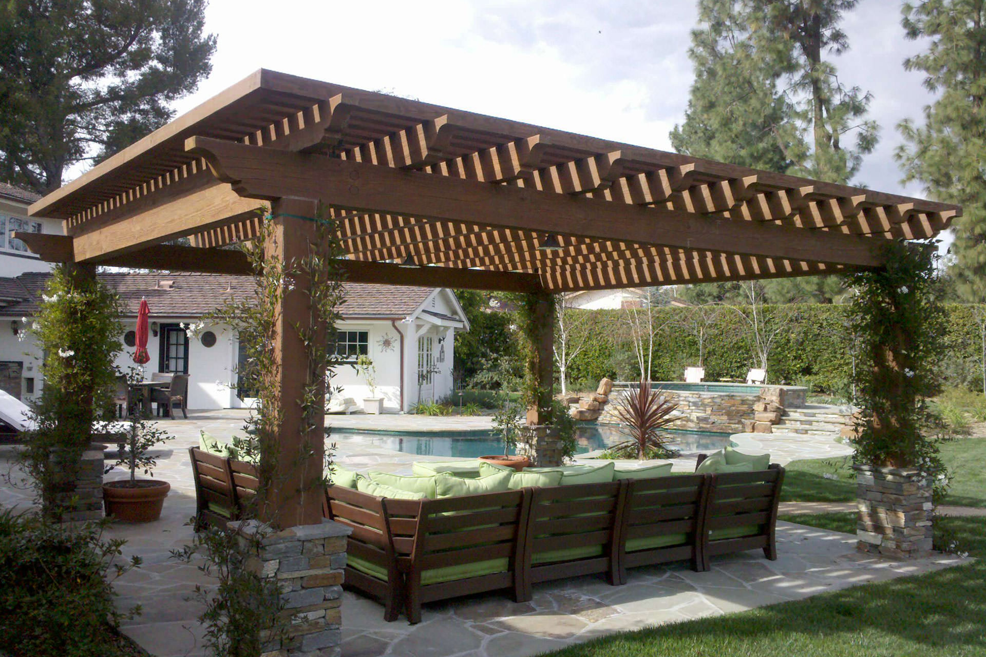 Wood pergola with roof images for Large patio design ideas