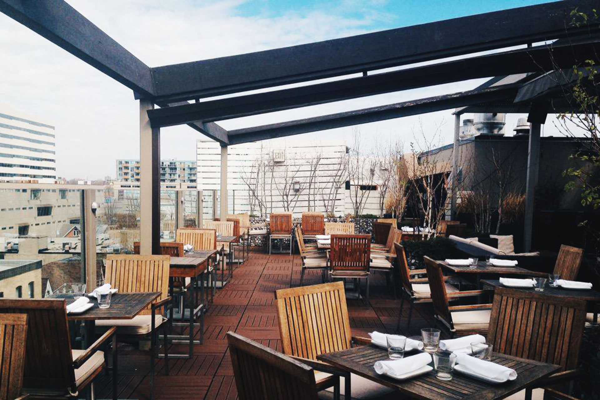 Covered Rooftop Patio At Spoke Club In Toronto Shadefx