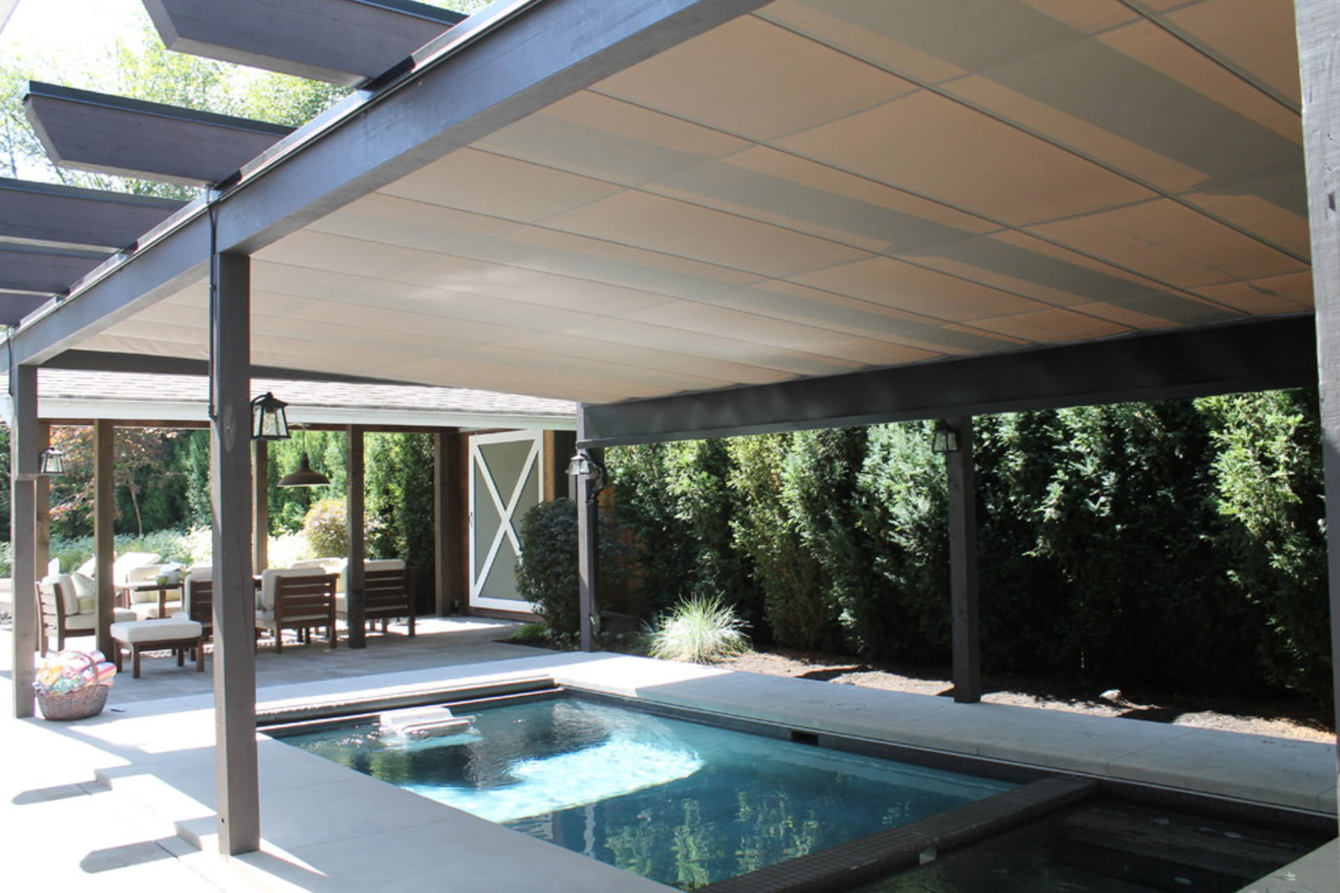 pool shade ideas 7 ways to cover your swimming pool - U Shape Canopy 2015