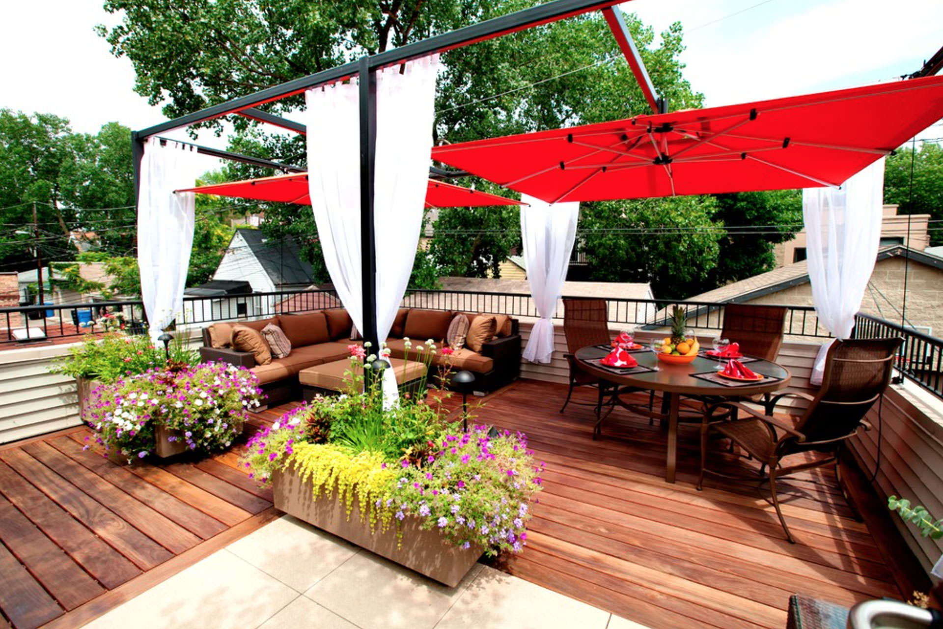 Curtain call the guide to pergola curtains for Rooftop deck design ideas