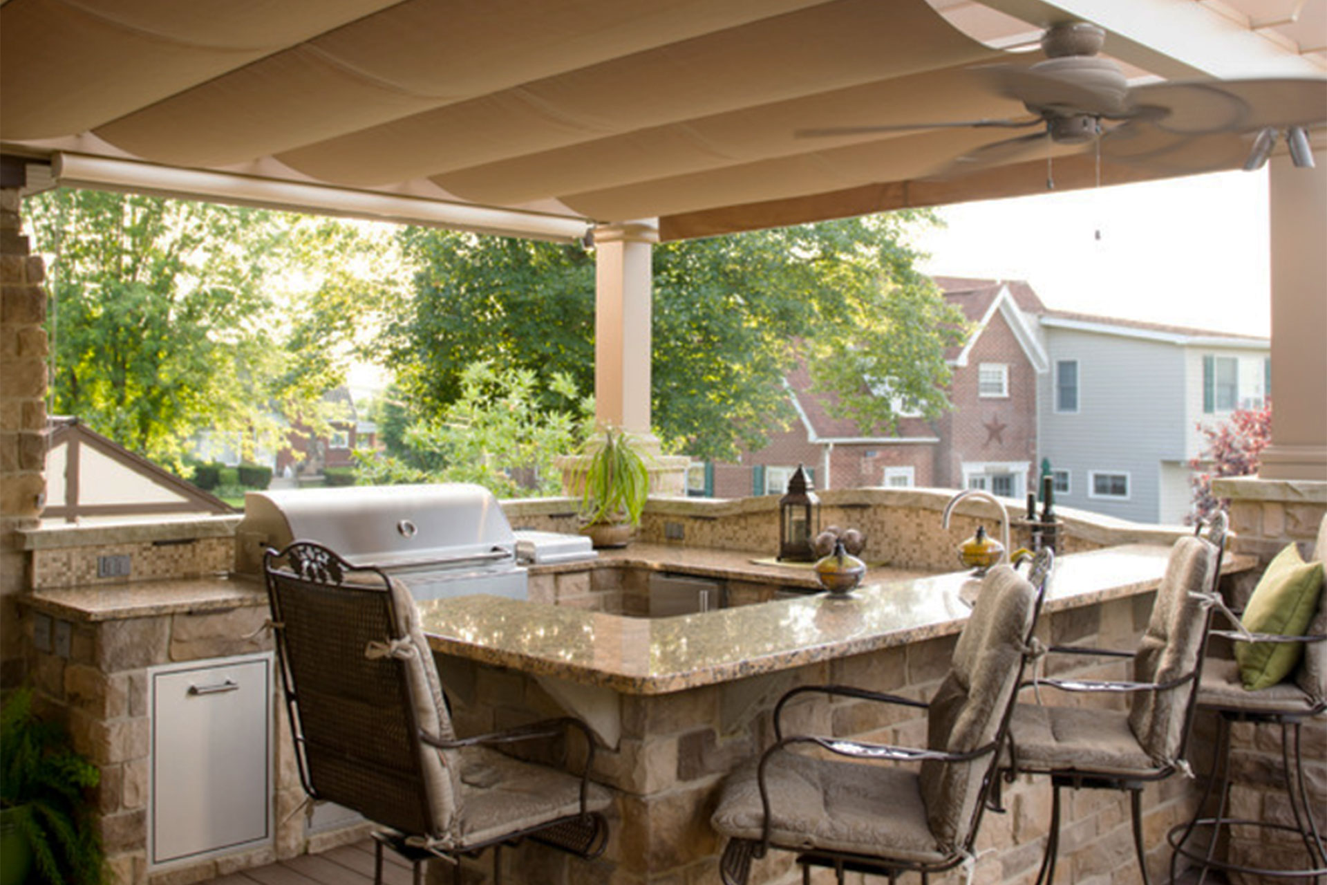 outdoor kitchen covers in south hills shadefx canopies