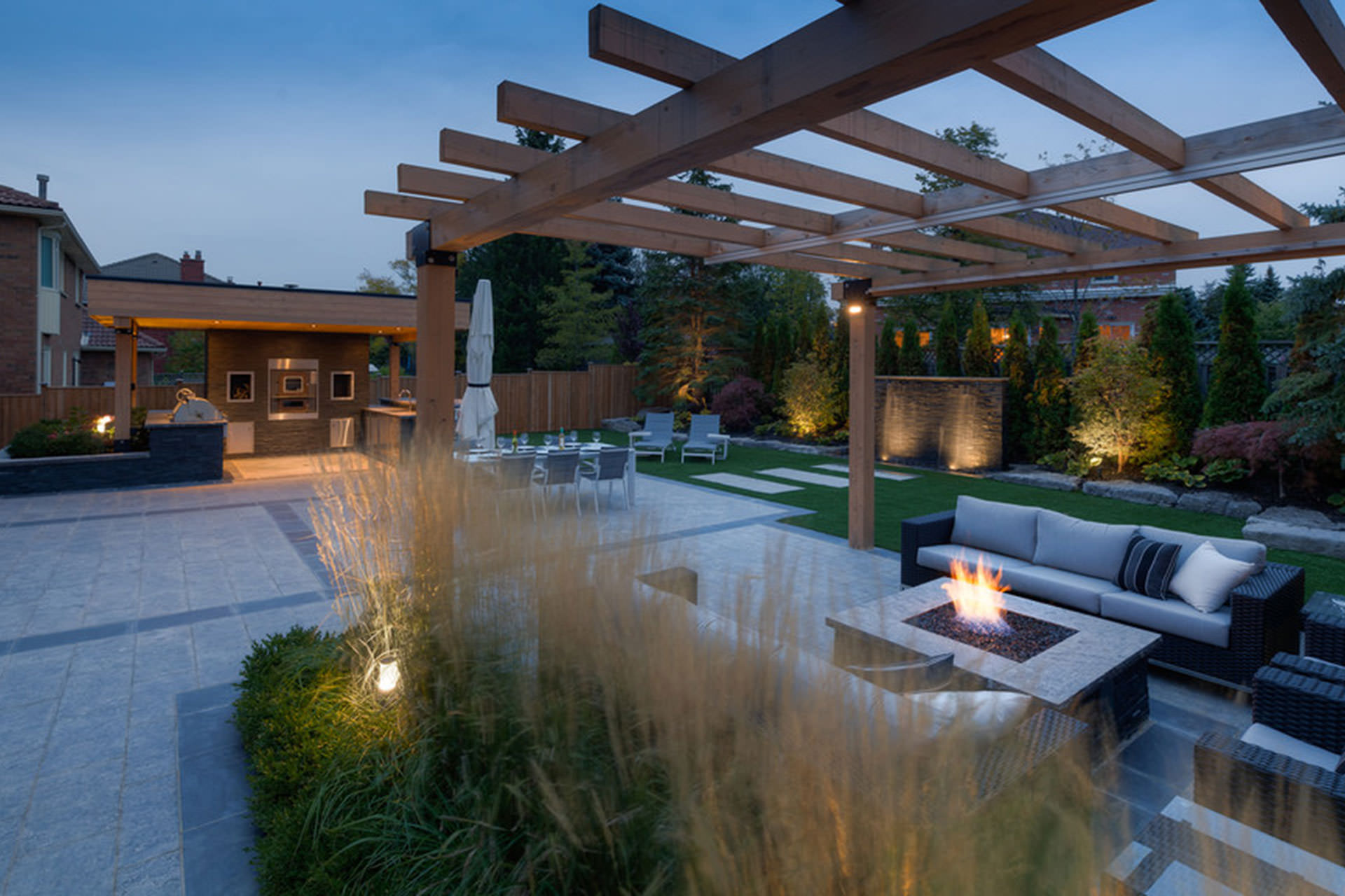Retractable shade structure for Award winning backyard designs