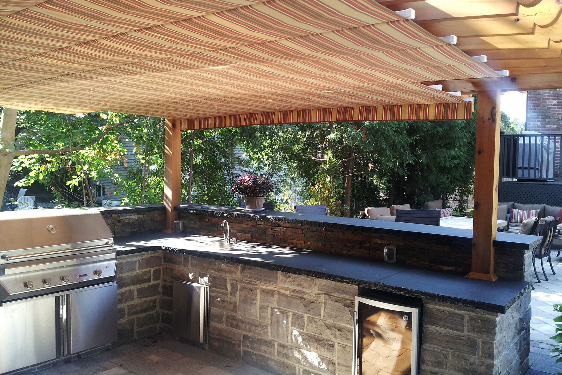 notched retractable awning in toronto shadefx canopies
