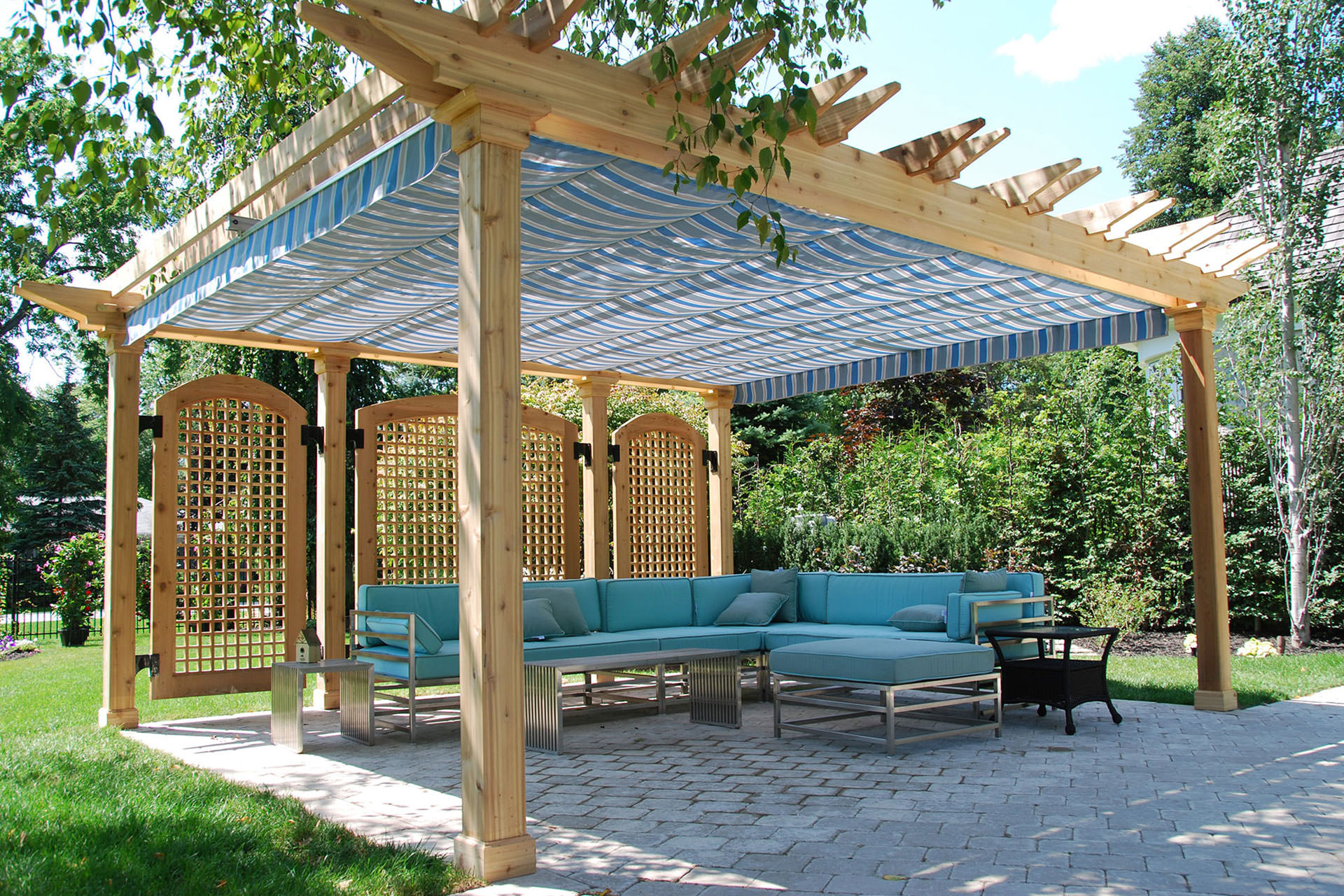 Retractable pergola canopy in oakville shadefx canopies - Pergola with roof ...